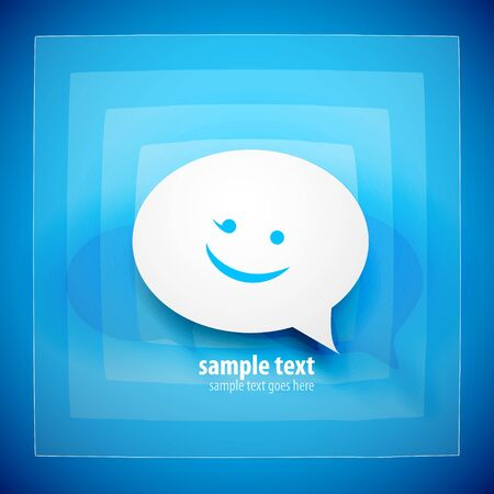 blank faces: Blue speech bubble background Stock Photo