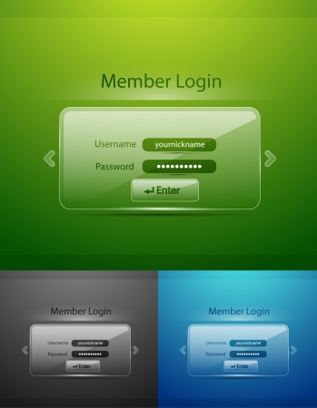 Vector glass login page Vector
