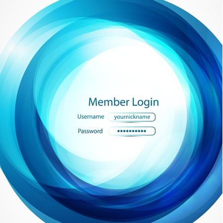 login button: Blue swirl login page Illustration