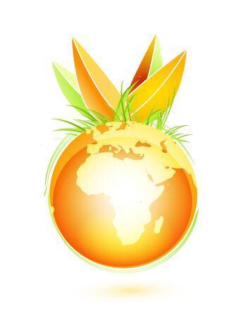 winter wheat: Oorange vector earth fruit Illustration