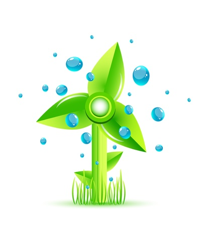 Vector green windmill concept Stock Vector - 13190895