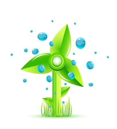 environmentally friendly: Vector green windmill concept