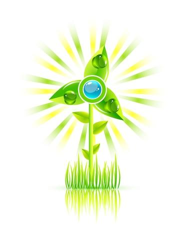 Concept de vecteur moulin à vent vert