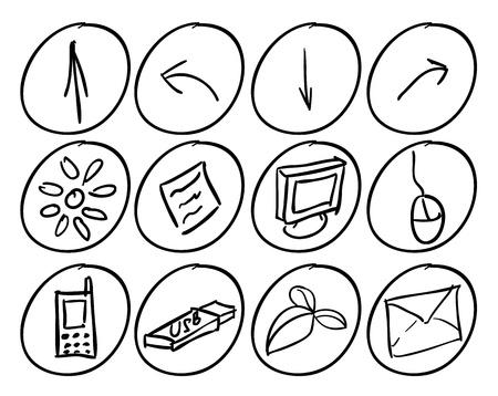 conectividad: Dibujado a mano los iconos de tecno