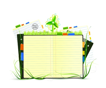 notebook page: Green nature notebook Illustration