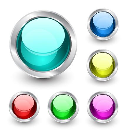 chrome ball: Vector glass buttons