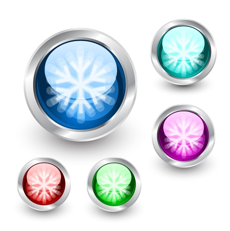 Snow buttons Vector