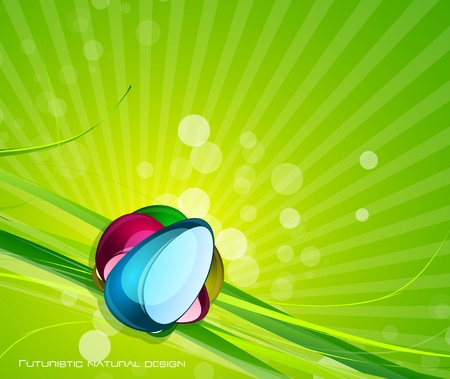 Glass and nature elements background Vector