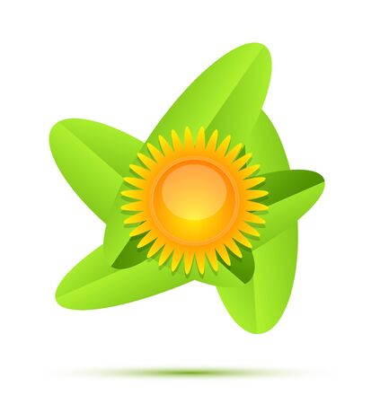Sun and leaf conceptual icon set Vector