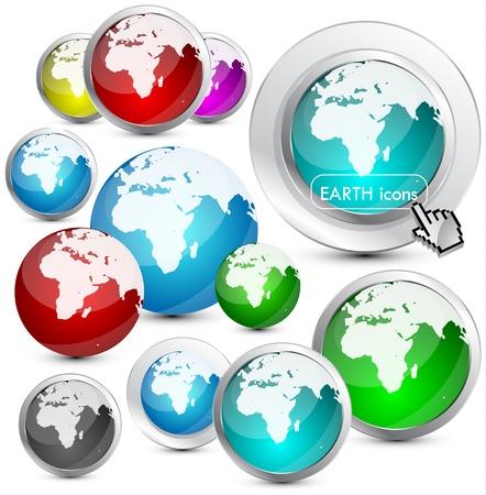 Glossy Earth Globe design Stock Vector - 13302921