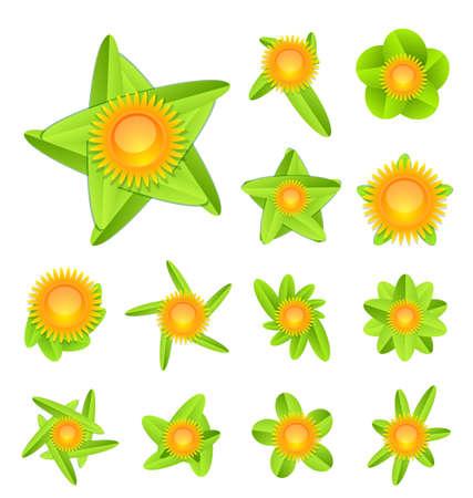 Sun and leaf conceptual icon set Stock Vector - 13302911