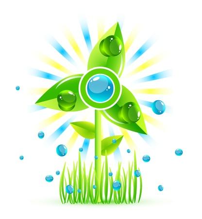 Green eco windmill icon photo
