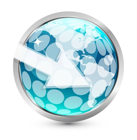 Earth globe arrow icon photo
