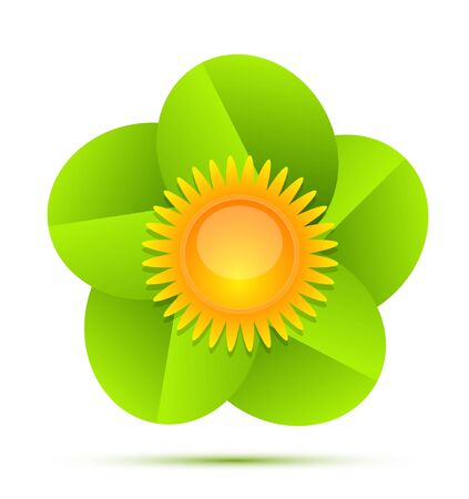 Nature sun and leaves icon Vector