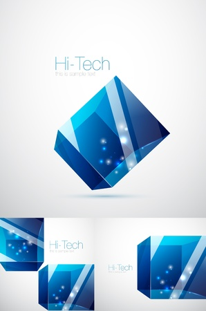 Blue glass cube background photo