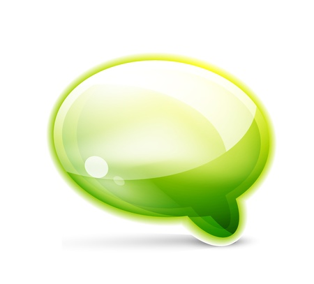 Green glossy speech bubble icon Vector