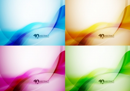 business card layout: Set of wave backgrounds