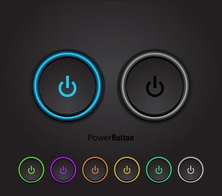 Zwart led licht uit-knop Vector Illustratie