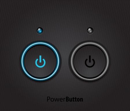Black led light power button Stock Vector - 13777138