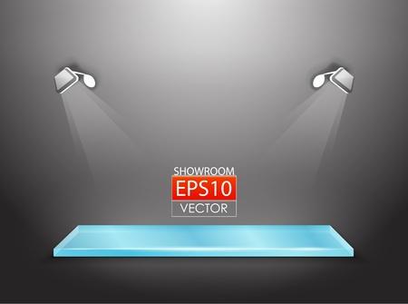 vitrine: showroom with spotlights Illustration