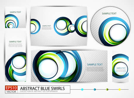 Big collection of blue swirl banners Stock Vector - 13859981