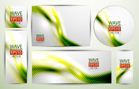 Green wave banners Vector