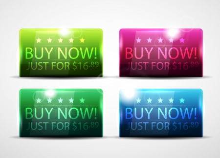 Glossy buy now buttons Vector