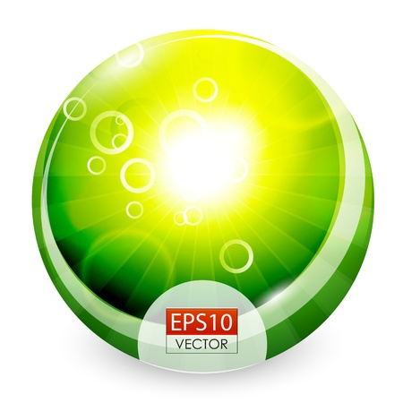 Green shiny sphere background Vector