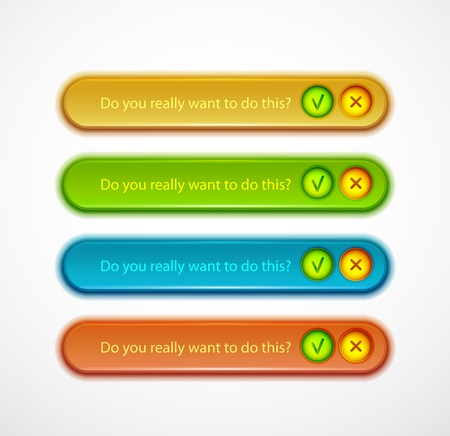 Confirmation dialog set Vector