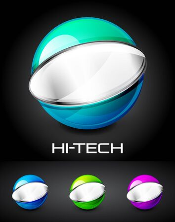 Set of color glossy sphere with metal elements Vector