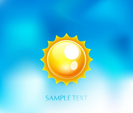 Sun on blue sky background Stock Vector - 14349051