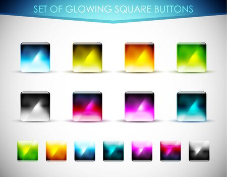 Vector glowing glass buttons Vector