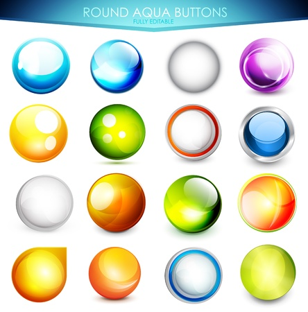 Set of colorful aqua buttons Vector