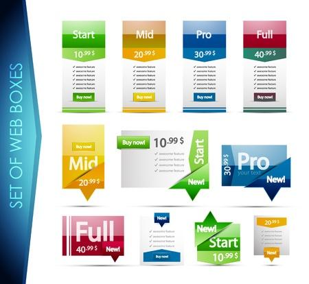 siti web: Set di scatole colorate web