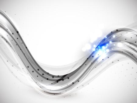 em tons de cinza: Fundo da onda resumo em tons de cinza com luzes azuis
