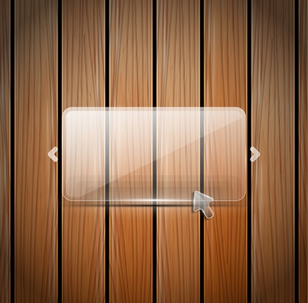 Vector glass and wooden wall photo