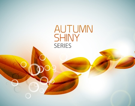 Autumn shiny flying leaves background Vector
