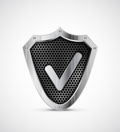 Metal shield with tick  protection icon Vector