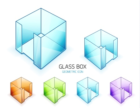 Glass note paper containers  Vector icon set Stock Vector - 15172809