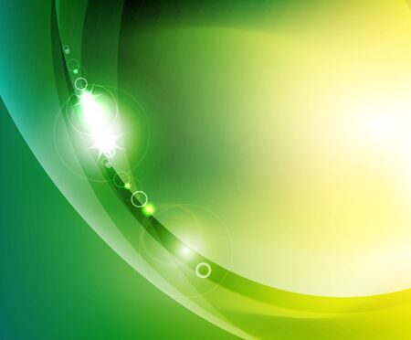 electric green: Shiny wave abstract background Illustration