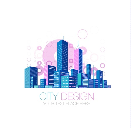 office window view: City background Illustration