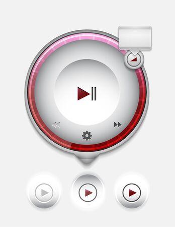 interface menu tool: Multimedia player UI Illustration
