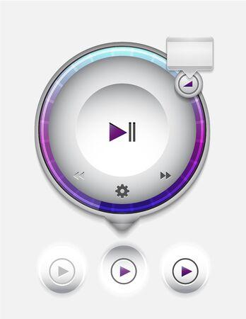 interface menu tool: Multimedia player UI Stock Photo
