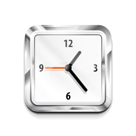 Metal square clock icon Stock Vector - 15644491