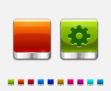 Glossy color templates for square buttons Vector