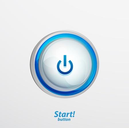 Blue start button Stock Vector - 15800075