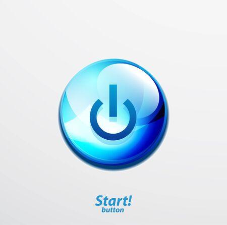 Blue start button Stock Vector - 15800069