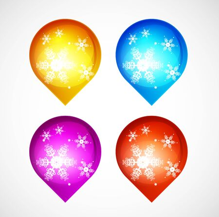 Christmas shiny buttons with snowflakes Vector