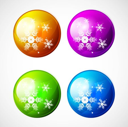 shiny buttons: Christmas shiny buttons with snowflakes Illustration