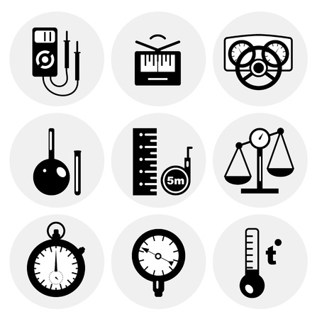 electric meter: black measurement icons Illustration